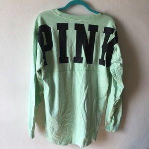 VS PINK mint green long sleeve campy tee - medium